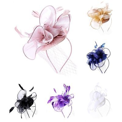 Ladies Feather Satin Net Hat Headband Fascinator Wedding Day Race Royal Ascot