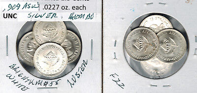 Lot of 4 Unc 1961 South Africa 2 1/2 Cents Silver Gem Bu Bright White  & Luster