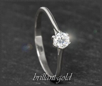 Diamant Brillant Ring, Damen Solitär aus 585 Gold, 0,25ct, Weißgold Brillantring