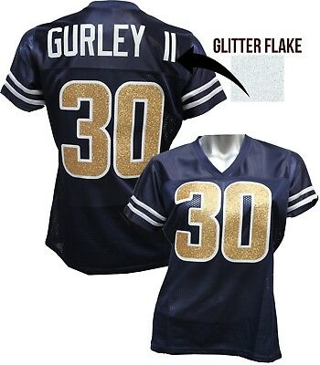 buy popular 4812f 5baac CUSTOM WOMENS BLINGED Football Navy Blue Jersey, Todd Gurley,ANY NAME #,Rams