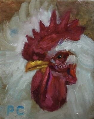 Peter Chorao Artist Original Oil Painting Rooster Bird Farm Animal Nature Art