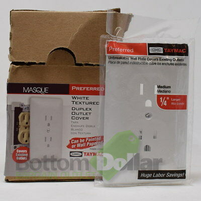 Taymac Masque White Textured Unbreakable Duplex Outlet Cover Medium (50 Pack)