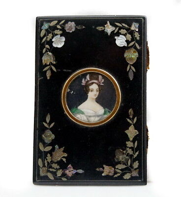 Antique MINIATURE PAINTING MOTHER OF PEARL FRAME INLAID BLACK LACQUER Card Case
