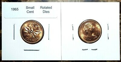 Canada 1965 **Rotated Dies* Variety Small Cent Uncirculated Gem BU UNC Red!!