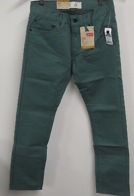 43432889482 Boy's Levi's 511 size 14 27x27 Slim Fit Tapered Boys Green Jeans Waterlog ~ NWT~
