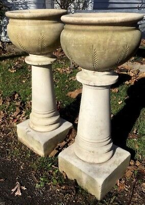 "ANTIQUE WHITE MARBLE GARDEN URNS PLANTERS PAIR FERN LEAF DESIGN HANDMADE 36"" ea"