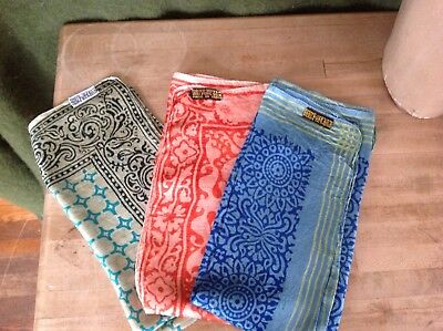 """Lot of 3 Multi color Signed Silk Scarf scarves, hand rolled edges, all 21"""" sq"""