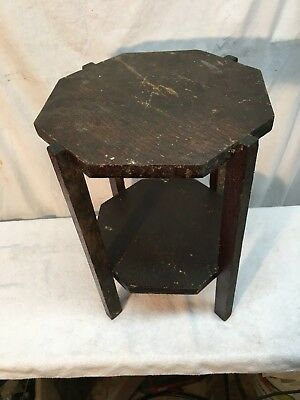 Vintage Solid Wood Primitive Style Shelf Plant Stand Country Cottage 17in tall