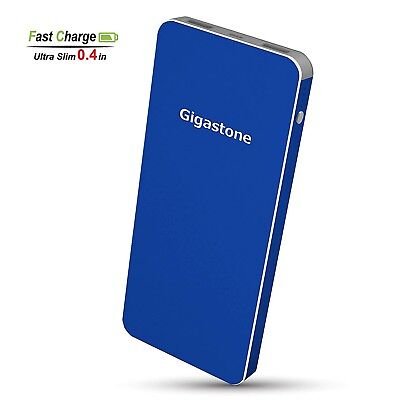 Gigastone Ultra Slim 10000mAh Power Bank Dual Outputs 5V/2.4A Stylish Metal Blue