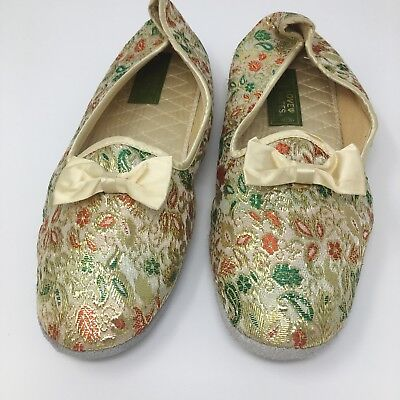 Love Mates Womens Gold Tapestry Floral Bow Slippers Leather Sole Vintage Sz 9 8