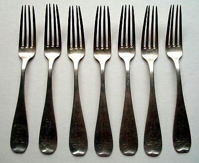 Lot of (7) German 800 Silver dinner forks w/engraving and initials