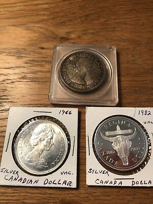 Lot Of 3 Canada Silver Dollars.  1958, 1966 And 1982