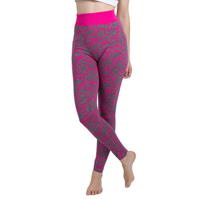 Womens Leggings Yoga Pants - Gray with Pink Camouflage high waist