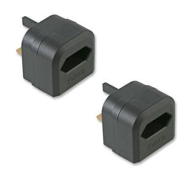 2x Pack UK Battery Charger Adaptor 3A Plug for Shaver & Oral-B Toothbrush Black
