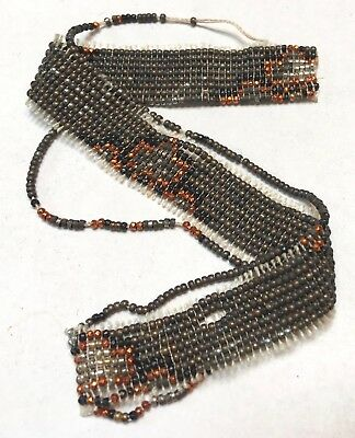 Antique French Cut Steel Beads Tiny Micro Metal Seed Purse Repair Orange Harvest