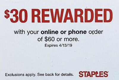 ➡️ STAPLES—$30 OFF Online Order of $60 or More—SENT FAST! Exp. 4/13/19