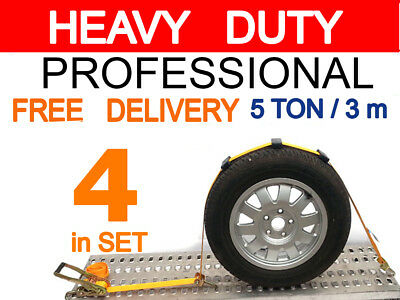 Recovery 4 Straps SET OVER WHEEL RATCHET Car Transporter Alloy 5 ton 3 m x 50 mm
