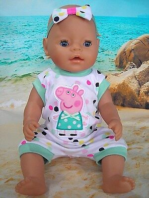 """Dolls clothes for 17"""" Baby Born doll~PEPPA PIG SPOTTY SUMMER JUMPSUIT & HAIR BOW"""