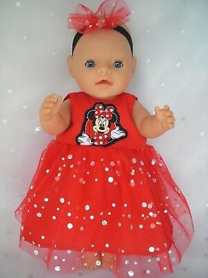 """Dolls clothes  for 17"""" Baby Born  doll~ MINNIE MOUSE RED SPARKLE DRESS~HAIR BOW"""