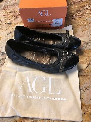 7e21480b55 AGL Attilio Giusti Leombruni Ballet Flats 37.5/ 7 Black Buckle Shoes Leather
