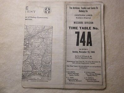 AT&SF RR Missouri Division Employee Timetable # 74A. 11/12/44