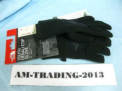 NWT The North Face Youth Denali Etip Gloves Black Size Small