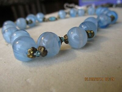 Antique/Vintage Pale Sky Blue Hand Blown Glass Bead Venetian/Murano? Necklace