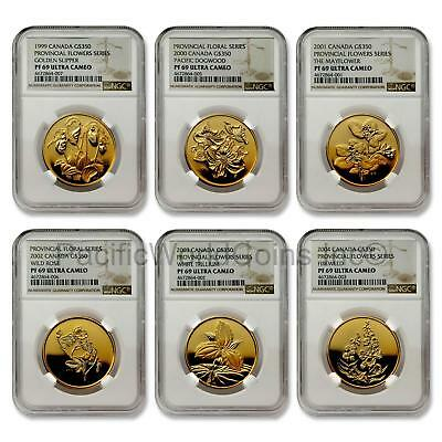 Canada 1999-2004 Provincial Flowers Series 6 coins Gold NGC PF69 UC SKU#7069