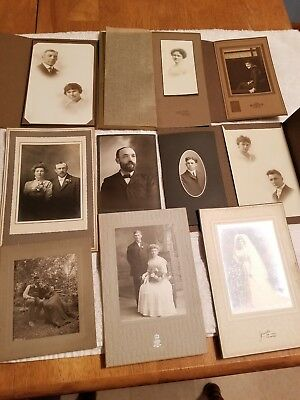 Lot of 10 Vintage Antique Photographs 1800's 1900's Cabinet Card  variety