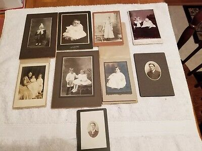 Lot of 9 Vintage Antique Photographs 1800's 1900's Cabinet Card  variety