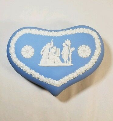 Vintage England Wedgwood Jasperware Blue Heart Shape Trinket Covered Box