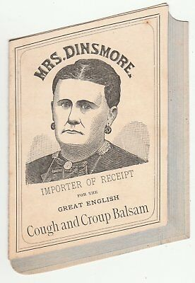 Book-shaped Mrs. Dinsmore cough and croup balsam Victorian trade card