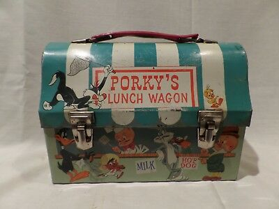 "Vintage ""porky's Lunch Wagon""  1959 Domed Lunch Box---Hallmark School Days-Warne"