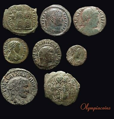 LOT OF 8 VERY FINE Ancient ROMAN & BYZANTINE BRONZE COINS