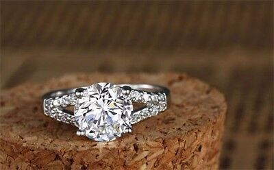 2 CT DIAMOND Engagement Wedding Anniversary Bridal Ring Solid Silver  Size 9