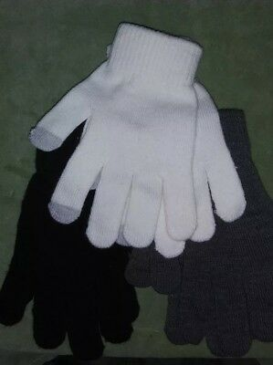 Lot of 3 pairs of stretchy winter gloves-black/white/gray-NWOT- (C10)
