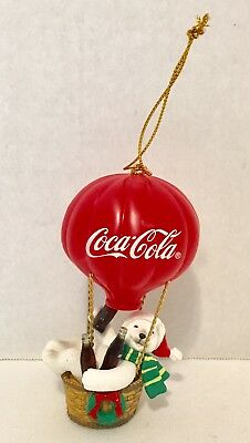 2003 Coca Cola Polar Bear Sitting In Hot Air Ballon Basket Coke Christmas Decor