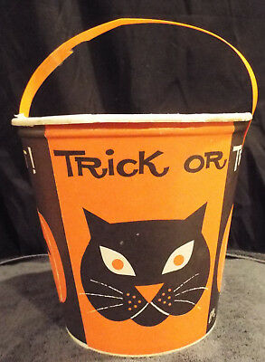 VINTAGE HALLOWEEN Lily Tulip Trick Or Treat Bucket Pumpkin Black Cat FREE SHIP
