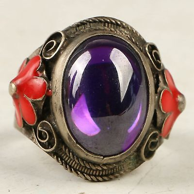Chinese Exquisite Cloisonne Inlay Zircon Carved Ring CC1305