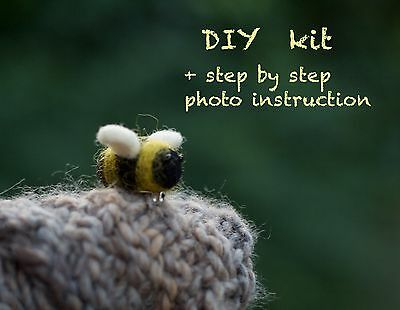 Needle felting kit Bumblebee brooch Bee pin Photo Instruction Wool craft kit