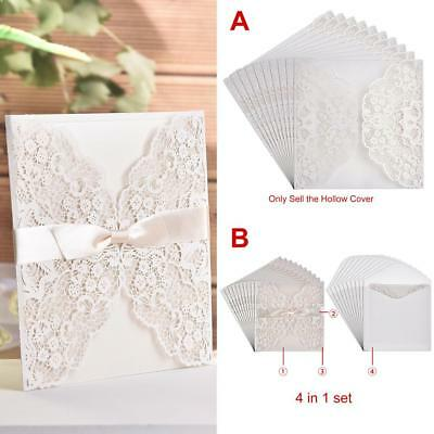 x10 Set Elegant Delicate Carved Lace Wedding Party Invitations Cards Party Decor