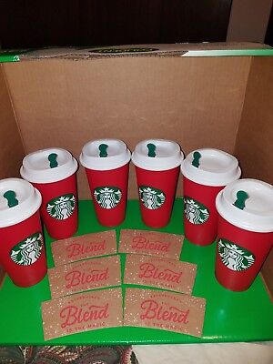 Starbucks Coffee 2018 Red Reusable Holiday Limited Edition Cups 16 oz - Lot Of 6