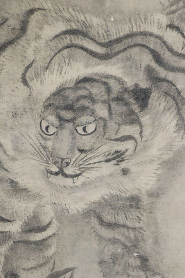 "JAPANESE HANGING SCROLL ART Painting ""Catty Tiger, Nekotora""  #E5623"