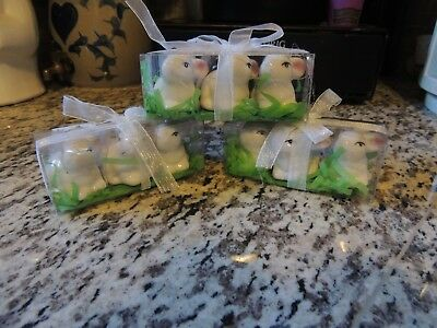 lot of 9 small Bunny Rabbit Ceramic Figures~ Easter ~Spring