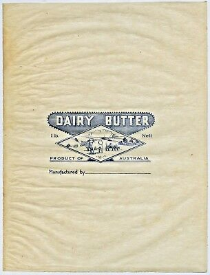 1950'S UNUSED  x 2 GENERIC DAIRY BUTTER WRAPPERS PRODUCT OF AUSTRALIA  U83 /U84