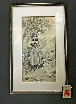 Framed Under Glass C.1880'S Woven Silk French Provincial Woman National Costume.