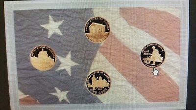 2009 Lincoln Penny 4 Coin Proof Panel W/coa