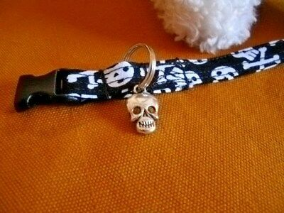Skull & Bone Fabric Handmade Cat Collar - Black & White w/Skull Charm