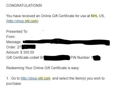 $300 NHL (nhl.com) Gift Card - Digital for immediate use.  Great deal!