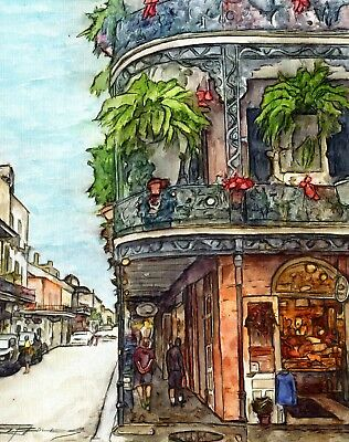 """ORIGINAL LARGE 100% Hand Painted Art FRENCH QUARTER NEW ORLEANS """"Balconies"""""""